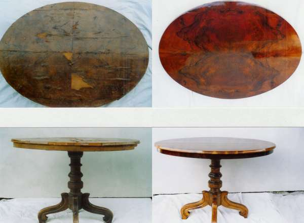 Table c. 1870, walnut veneer. Condition before & after restoration, detail of the desk above.