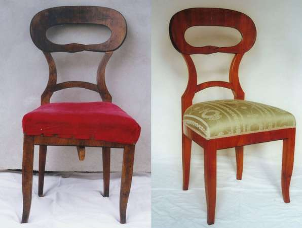 Chair c. 1820, cherry veneere, condition before and after restoration