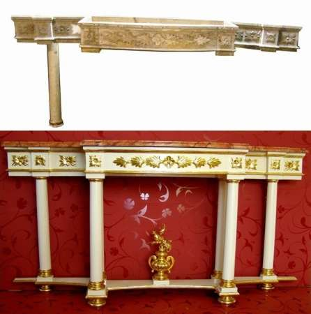 Console table, above condition before, down condition after repair