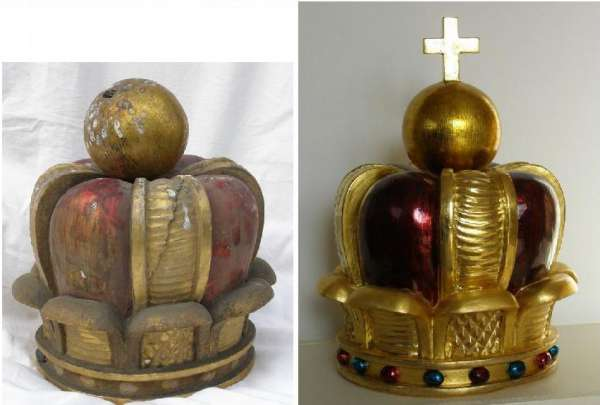 emperor´s crown-condition before and after restoration