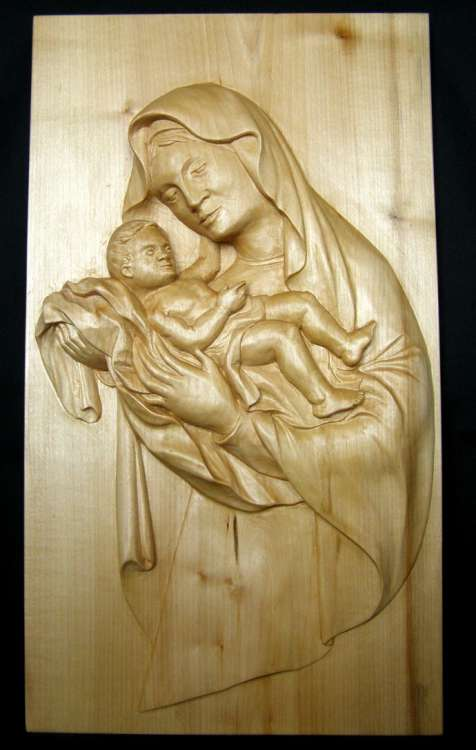 Maria with Jesus relief. Lime wood