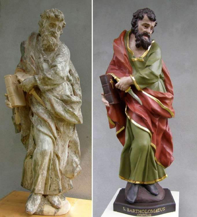 st. Bartholomeus, before and after restoration