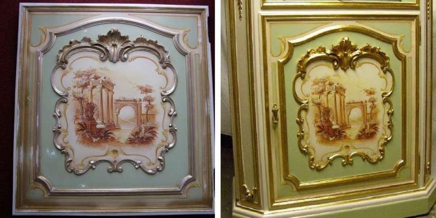 door of a Venetian furniture, before and after restoration