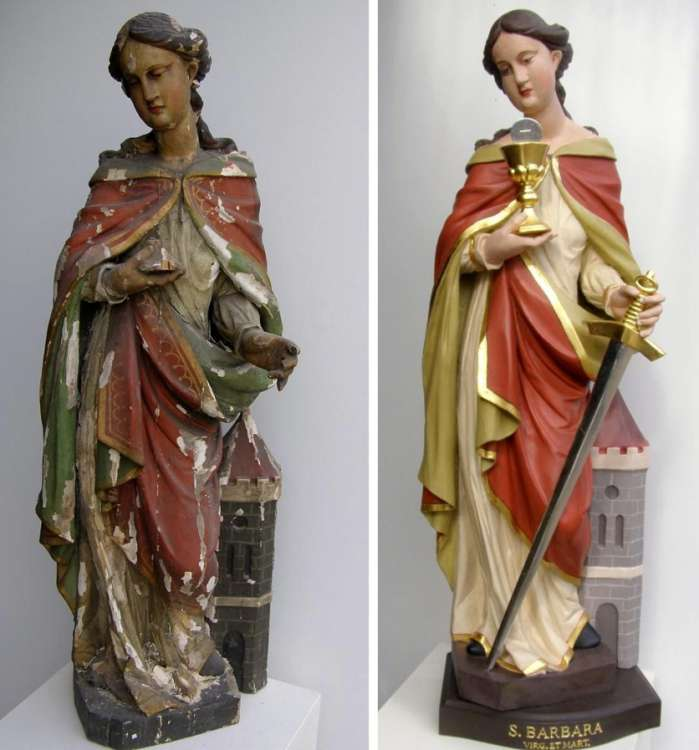 st. Barbara, before and after restoration