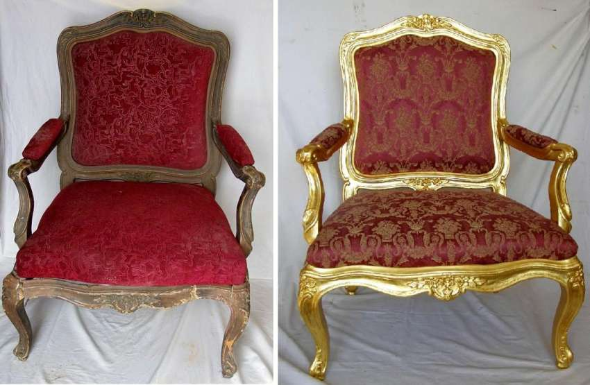 rococo armchair- before and after restoration