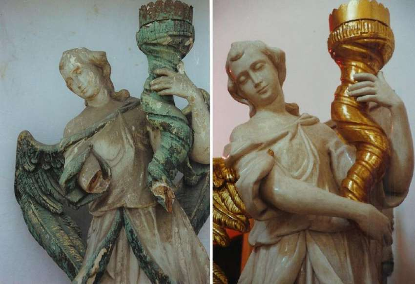 Baroque angel the Candelbearer, before and after restoration -detail