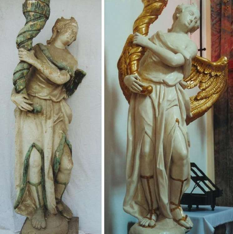 Baroque angel the Candelbearer, before and after restoration